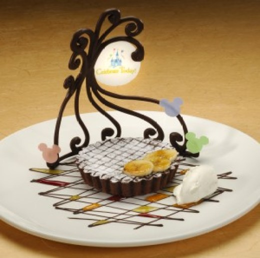 Warm Banana-Chocolate Torte with Vanilla Ice Cream - Photo by Disney