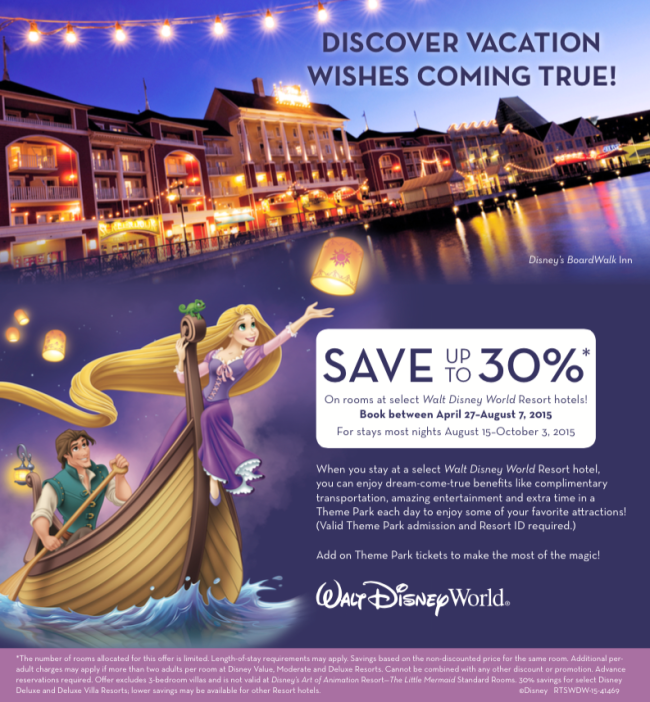 30% Off Walt Disney World Late Summer