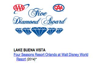 Four Seasons Orlando - AAA 5 Diamond Award