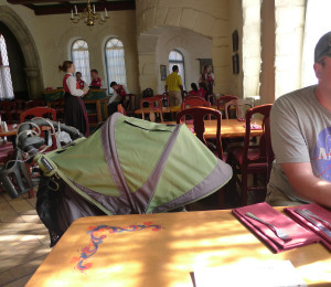 Stroller at table