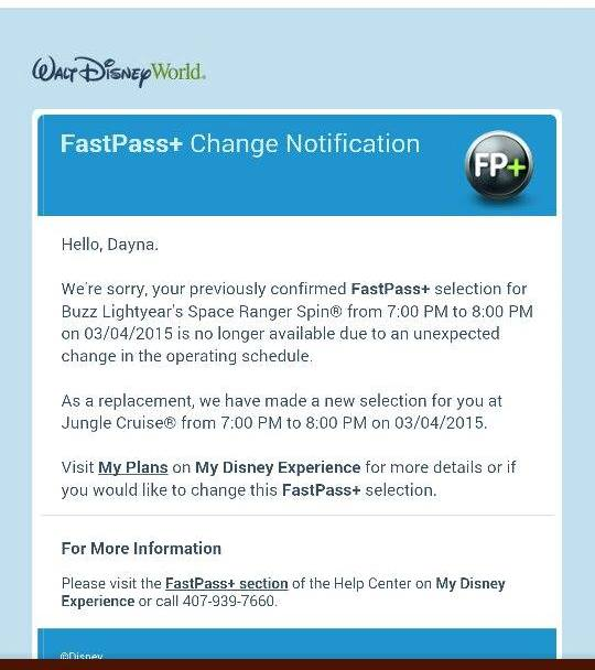 Screen shot of email from Disney canceling a Buzz Lightyear Space Ranger Spin fast pass