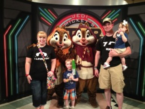Photo with Ewoks Chip 'n' Dale at Mickey's Star Wars Dine at H&V