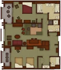 Detailed floorplan of Two-Bedroom Villa at Disney's Grand Californian