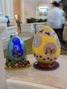 The Easter eggs vary in size from 16 to 20 inches tall.