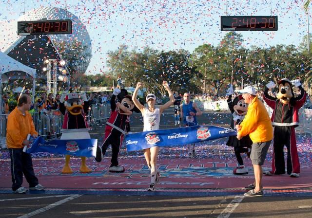 On Jan. 13, 2013,  Renee High of Virginia Beach, Va., claimed her second consecutive Walt Disney World Marathon women's title in 2:48:30! Photo by Disney