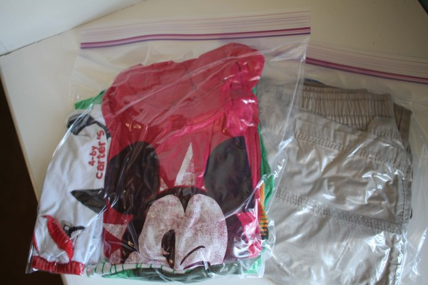 Packing clothes in zip lock bag