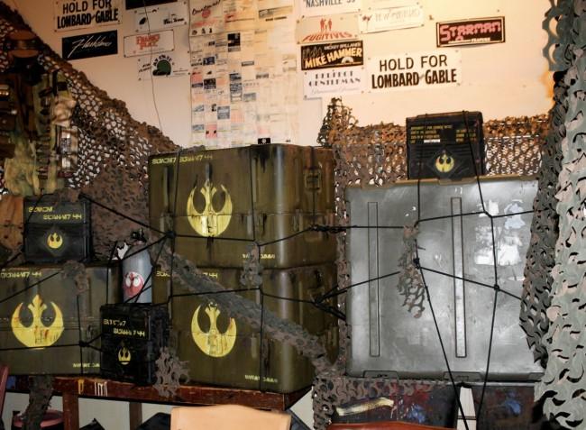 Rebel Hangar Interior has crates with Jedi rebellion symbol