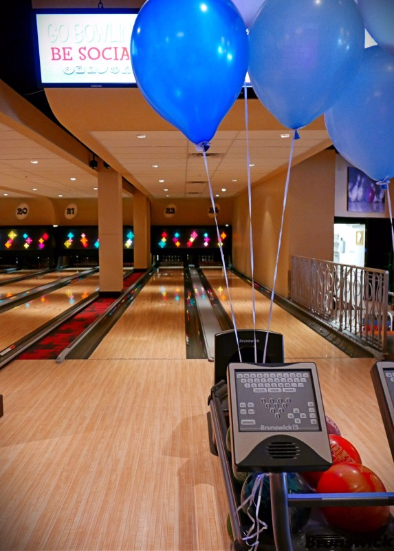 Bowling lane and balloons