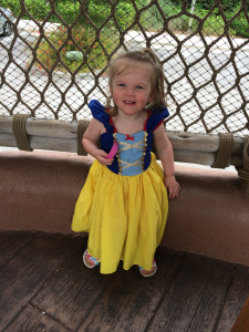 DIStracted daughter is cute and 100% comfortable in this Practical Princess Snow White dress by Lover Dovers Clothing.