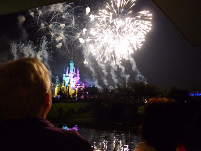 Woman watches Wishes Nighttime Spectacular