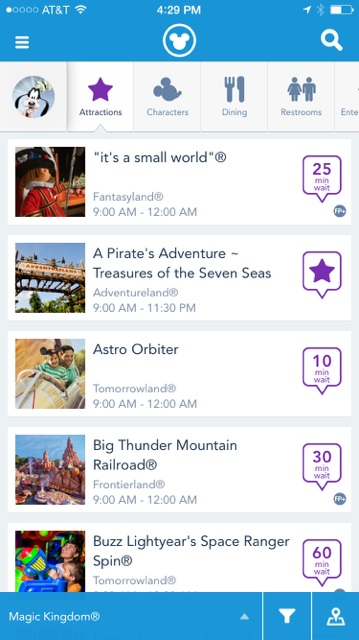 Screenshot showing wait times for Magic Kingdom attractions