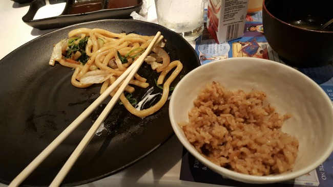The accompanying noodle and veggie stir-fry and special rice at Teppen Edo