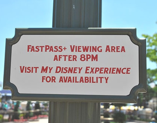 FastPass+ Viewing area sign for Wishes