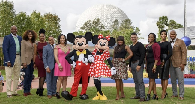 The Disney Dreamers Academy judges gathered at Walt Disney World Resort this year to select the Disney Dreamers Academy Class of 2016. From left, Dr. Alex O. Ellis, Simply Ellis Custom Clothier CEO; Yolanda Adams, gospel music legend; Brandi Harvey, Steve and Marjorie Harvey Foundation executive director; Princeton Parker, Disney Dreamers Academy alumnus; Sonia Jackson Myles, founder and author of The Sister Accord; Mickey Mouse; Minnie Mouse; Mikki Taylor, ESSENCE magazine editor-at-large; Dr. Steve Perry, education advocate; Carole Munroe, director of public relations for Walt Disney World Resort; Karli Harvey, Steve Harvey Products creative director and Jonathan Sprinkles, award-winning motivational speaker. (Todd Anderson, photographer)