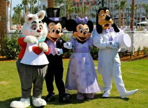 Minnie, Mickey, Goofy, and Rabbit at Brunch