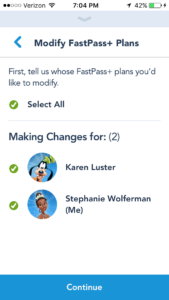 Modifying FastPass+ Plans via My Disney Experience App