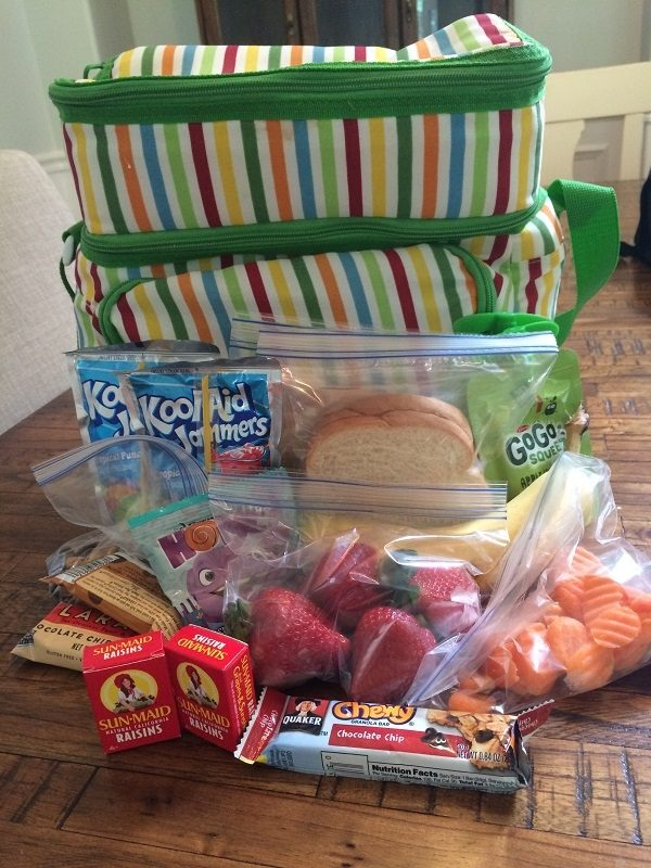 cooler with snacks