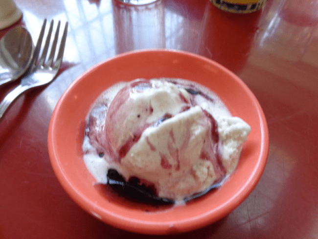 Ice Cream with Blueberry Sauce- Photo Credit Connie Sink