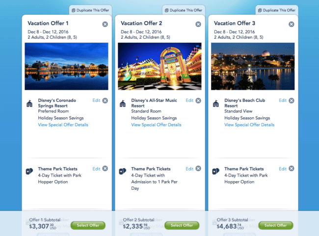My Disney Experience allows you to compare different vacation options.