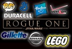 Logos of sponsors and merchandisers for Rogue One