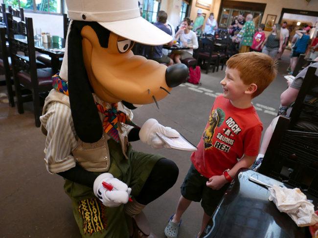 Meeting Goofy at Tusker House Restaurant. Photo by Rachel Horsley