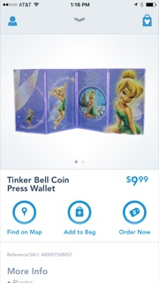 tinker bell pressed penny wallet