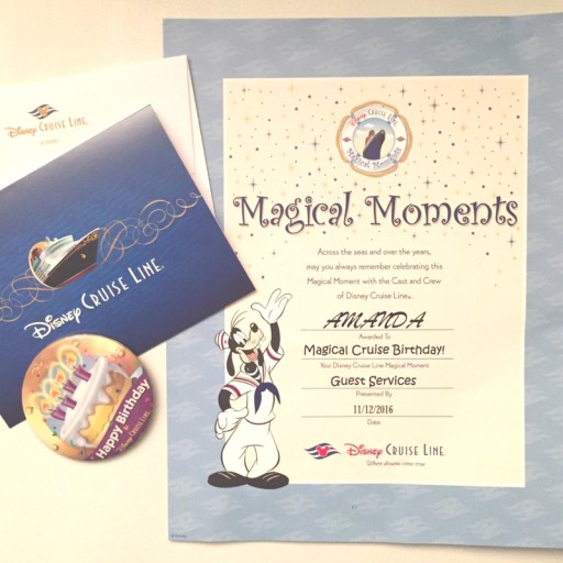 Celebrate on a Disney Cruise: Birthday Certificate, Card, and Button from Disney Cruise Line