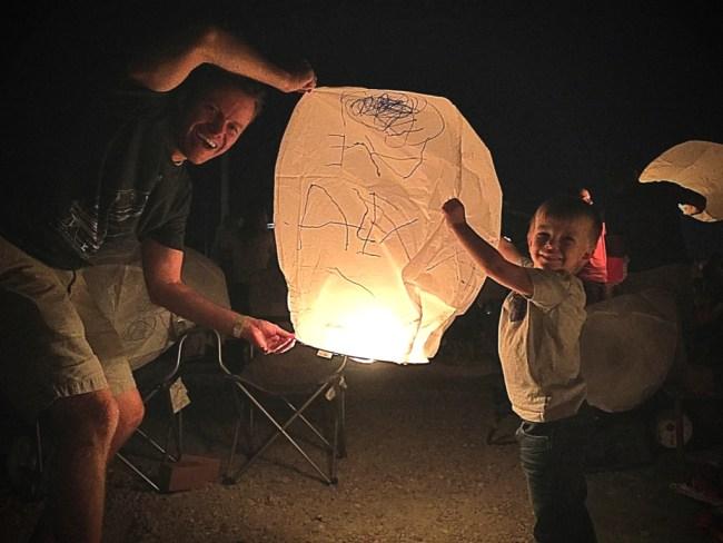 Lighting the lanterns at Lantern Fest Utah 2017