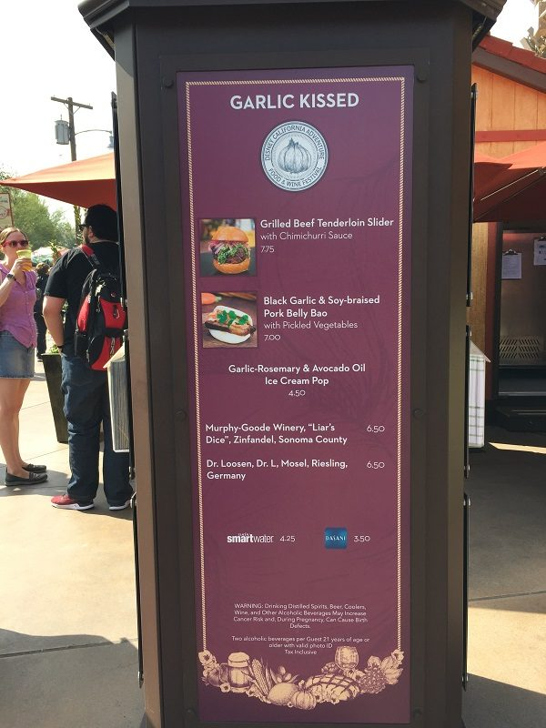 DCA Food & Wine Garlic Kissed Menu