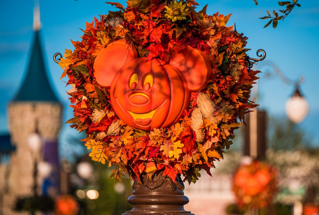 Photo of fall Mickey pumpkin wreath at Magic Kingdom