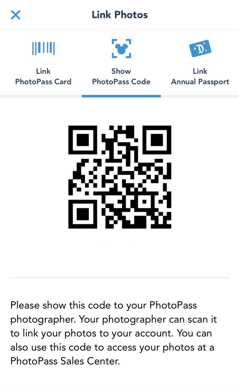 Photo of PhotoPass code in Disneyland app