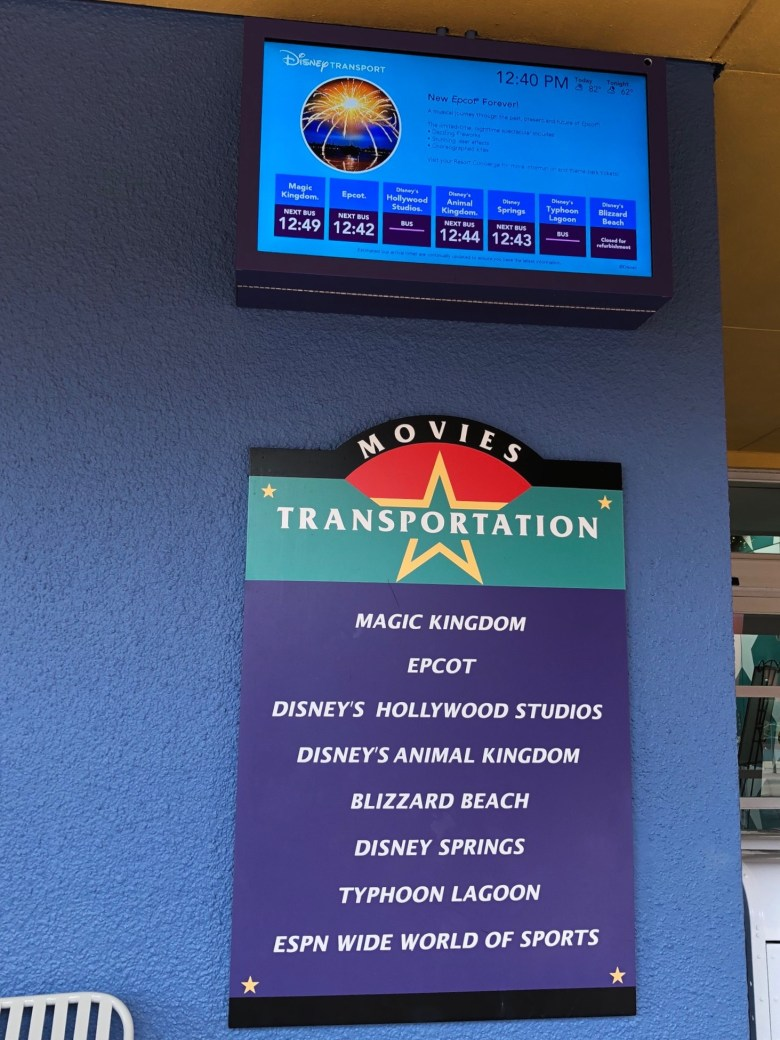 Photo of bus times at All-Star Movies Resort in Walt Disney World