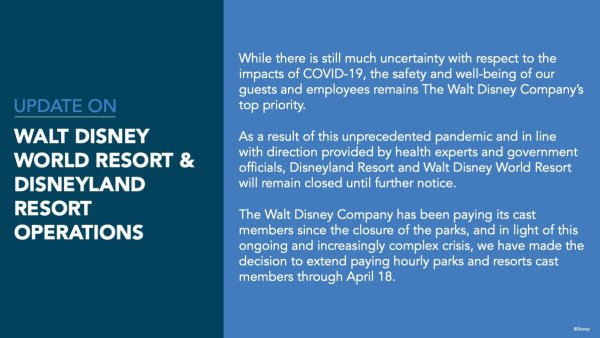 Photo of Disney Parks closure update on March 27, 2020