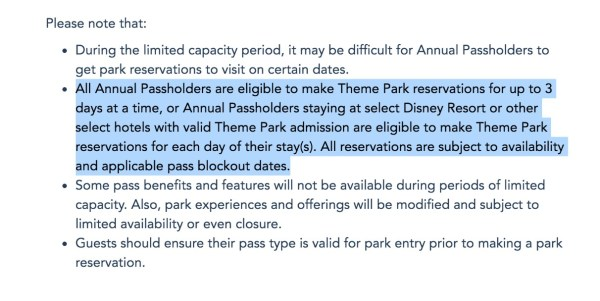 Photo of Disney Park Pass system for annual passholders
