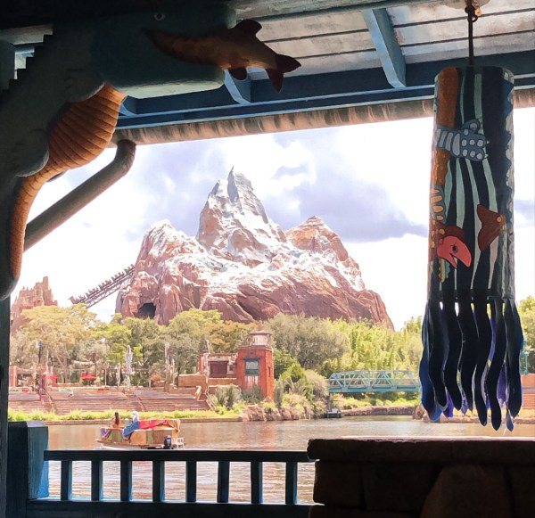 Expedition Everest views from Flame Tree Barbecue in Animal Kingdom