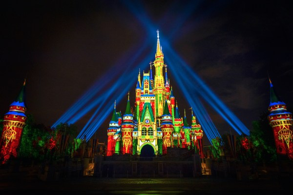 Holiday projections on Cinderella Castle