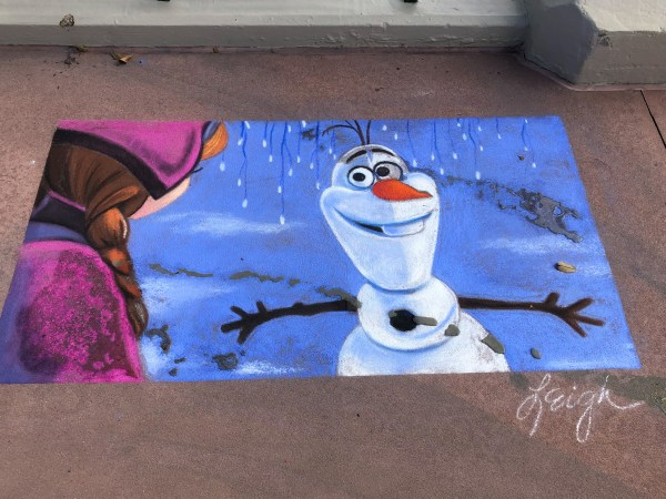 olaf sidewalk chalk art at 2021 festival of the arts