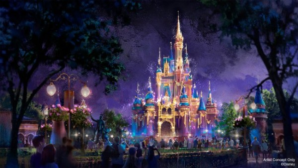 nighttime projections on cinderella castle for disney world's 50th