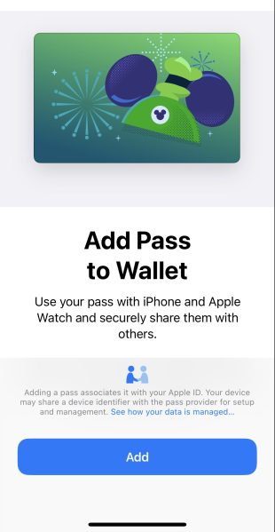add disney magicmobile pass to wallet