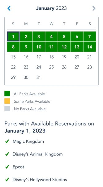 disney parks pass system through early january 2023
