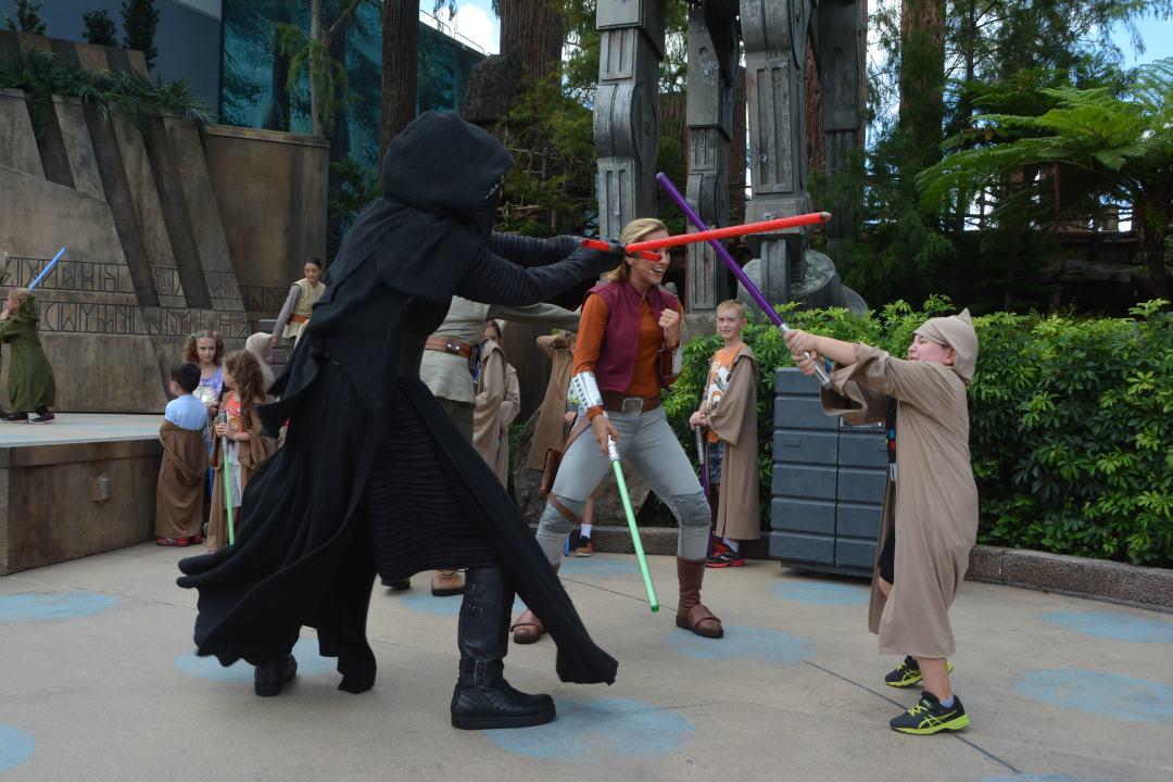 A padawan battles Kylo Ren  at Disney's Hollywood Studios in Orlando.