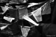 prayer flags and incense sticks