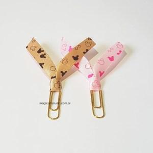 Kit com 2 clips marcadores de página decorados com fita do Mickey