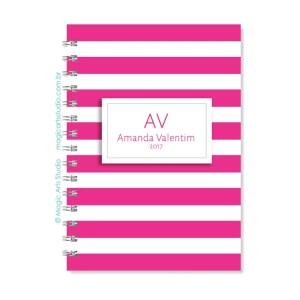 Magic Planner tamanho A5 - Listras pink