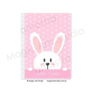 Capa em Wire-o Bunny Fundo Rosa - tamanho A5