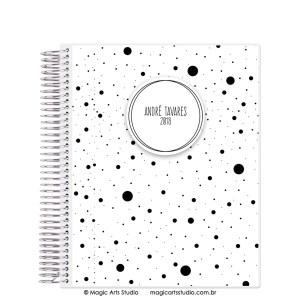 Magic Planner tamanho Large com espiral prata - Dots preto