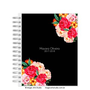 Magic Planner tamanho Large com wire-o prata - Flowers Black - modelo 3