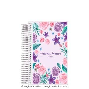 Magic Planner tamanho Personal com espiral prata - Aquarela floral