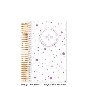 Magic Planner tamanho personal com espiral dourado - Dots lilás