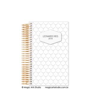 Magic Planner tamanho personal com espiral dourado - Hexagonal Minimalist